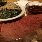 Prime rib with creamed spinach.