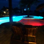 Pool in night light. red one changes color
