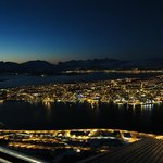Night view of Tromso from the cable car cafe