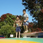 The giant trampoline/pillow is the focal point for kids play with lots of bullrushing happening!