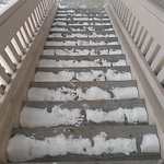 Stairs the day we left. One day after the storm. Still icy.