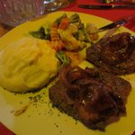 Filet Mignon with bacon - mashed potatoes and mixed vegetables with a light cream