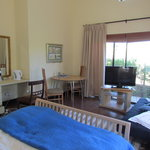 Sunbird suite - has queen bed and single sleeper couch for a child