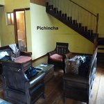 View of the Pichincha living room and bathroom, bedrooms are on the 2nd floor.