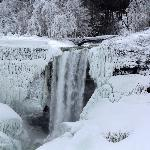 Photo of the iced over Bridal Veil Falls