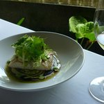 Grilled Kingfish with soybean vinaigrette, pesto and frisee