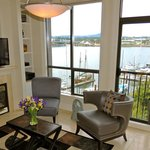 View of Victoria's Upper Harbour from the Harbourside Suite Living Room