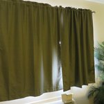 pea green curtains