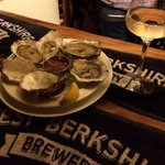 Fab oysters washed down with a lovely Dry Muscat from Alsace. Heaven.