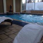 The pool was nice and warm with comfy poolside beds to relax on.