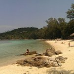 Peaceful, smooth white sand and crystal clear water. Good for snorkeling.. Everything was perfec