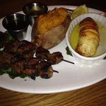 Filet mignon skewers with stuffed flounder