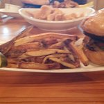 Burger and hand cut fries.  Pork Rinds