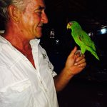 Peter (the owner) and Tommy the Parrott.