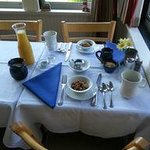 the breakfast table all ready and waiting