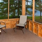 Airy screen porches offer a great lake view