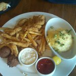 Southern fish with 2sides corn grit and fries yummmmmmmy