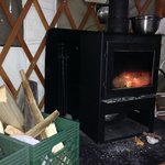 nice wood stove in yurt