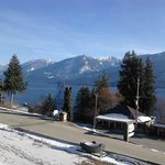 view from our balcony of our room, looking over beautiful Kootenay Lake