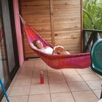 The wonderful hammock on our private patio