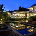 Pool and Breakfast room by night