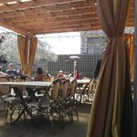 Outdoor eating area. Great on a sunny day.