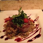 Seared yellowfin with mushrooms over quinoa
