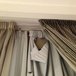 Torn curtain in room 407