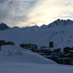Sunset over Tignes as seen from hotel bar balcony