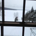 A view out the bedroom window onto Rangeley Lake.