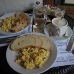 Breakfast-eggs, bread and coffee