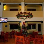 Decorated for Christmas - the lobby of the Best Western Alpine Classic Inn