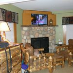 Fireplace & flat screen TV with dvd player
