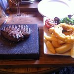 Steak on Hot Stone! Delicious.