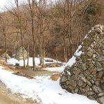 Old Korean stone-mound graves, in the surrounding mountains.