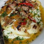 Cabbage stuffed w brie n ricotta w cabbage n potato puree n topes w roasted peppers and bacon...