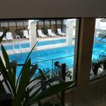 View of the pool from the hotel lobby