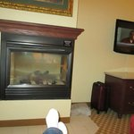 Gas fireplace to kick feet up in front of