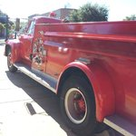 side view of antique fire engine