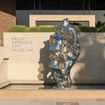 The museum entrance features a newly-installed sculpture by Zhan Wang