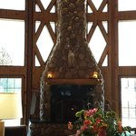 Gorgeous fireplace in the main lodge. Bonfire is right outside.