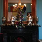 Fireplace mantel decorated for Mardi Gras
