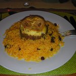 bobotie and yellow rice with raisins-delicious!