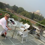Rooftop terrace with Humayun's tomb close by