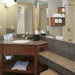 Guest bathroom featuring granite countertops
