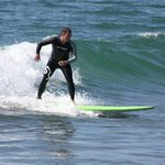Scott from Life Time TRI giving surfing a shot for the first time in his life! Not a bad ride!