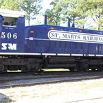 The beautiful blue engine of the St. Marys Express!