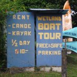 Sign showing Kayak prices at Hotel el Campo