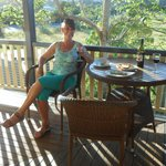 Enjoying a drink on the verandah