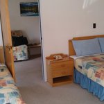 One bedroom unit from bedroom.  Huge room with queen bed and single bed